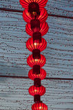 Colorful red Chinese lanterns shine for New Year. Royalty Free Stock Photos