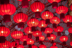 Colorful red Chinese lanterns shine for New Year. Stock Photography