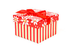 Colorful red christmas decorated present Stock Photography