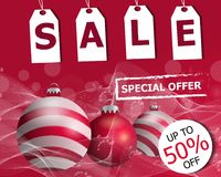 Colorful red Christmas sale poster or banner with three Christmas balls. Vector. Illustration Stock Photo