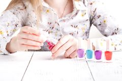 Colorful red collection of nail designs for summer and spring. M. Anicure concept royalty free stock photo