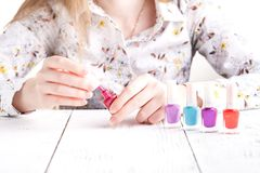 Colorful red collection of nail designs for summer and spring. Manicure concept Stock Image
