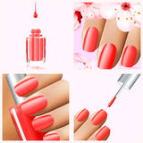 Colorful red collection of nail designs for summer and spring. Vector 3d illustration. Nailpolish lacquer ads, nail Stock Photo