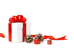 Colorful red gifts with ornamental Royalty Free Stock Photo