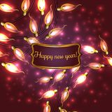 Colorful Glowing Christmas Lights. Colorful Red Glowing Christmas Lights.Vector elements can be used as backdrop for new Year decoration. Holiday Illustration Stock Photos