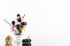 Colorful red grapes ice cream cup on white background Stock Photo