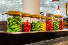 Chili Glass Jar royalty free stock photography