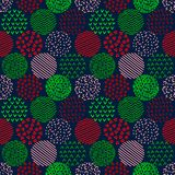 Colorful red and green patterned circles geometric seamless pattern on dark, vector. Background Stock Photo