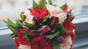 Colorful - red and green - wedding flowers - bride`s bouquet at window, close up Stock Image