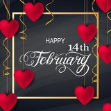 Colorful Red Hearts. Happy valentines day romantic design elements. Red 3D Realitic hearts with Lettering 14 February in gold frame. Template design for banner Royalty Free Stock Images