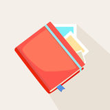 Colorful red journal. Or diary lying on instant photos or cards over a light grey background, illustration stock illustration