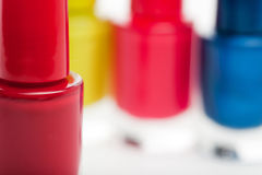 Colorful red modern nail lacquer Stock Photo