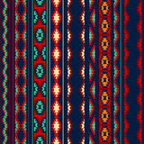 Colorful red orange blue aztec striped ornaments geometric ethnic seamless pattern