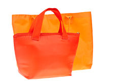 Colorful red and orange cotton bag Stock Photos