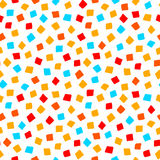 Colorful red orange yellow blue square shape geometric seamless pattern, vector Royalty Free Stock Image