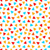 Colorful red orange yellow blue triangles hand drawn seamless pattern, vector Royalty Free Stock Photos