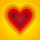 Colorful red, orange and yellow paper layers heart Stock Images