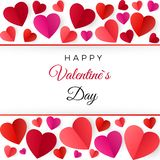 Colorful red paper hearts. Happy Valentines Day greeting Card. Vector illustration isolated on white royalty free illustration