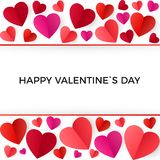 Colorful red paper hearts. Happy Valentines Day greeting Card. Vector illustration isolated on white background stock illustration