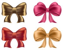 Colorful red and pink bows and ribbons illustration Royalty Free Stock Image