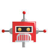colorful red robot with three antennas icon Royalty Free Stock Photography