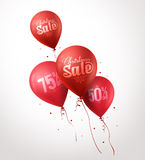 Colorful Red Sale Balloons Flying for Christmas Stock Image