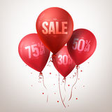 Colorful Red Sale Balloons Flying for Christmas Royalty Free Stock Photo