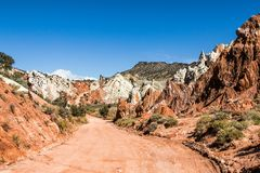 Colorful red sandstone at Cottonwood canyon Road. Colorful sandstone at Cottonwood canyon Road royalty free stock photo