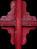 Colorful red weathered wood window detail Royalty Free Stock Images