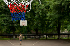 Colorful red, white and blue basketball net Royalty Free Stock Photo