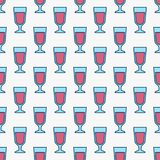 Colorful red wine glasses pattern. Colorful vector seamless pattern with red wine glasses Stock Images