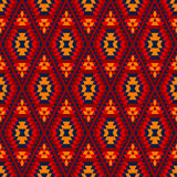 Colorful red yellow blue aztec diamond ornaments geometric ethnic seamless pattern, vector Royalty Free Stock Images