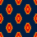 Colorful red yellow blue aztec ornament geometric ethnic seamless pattern, vector Royalty Free Stock Photography