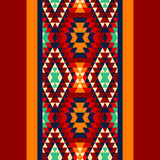 Colorful red yellow blue and and black aztec ornaments geometric ethnic seamless border, vector Royalty Free Stock Photos