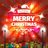Colorful red yellow Christmas card and New Year greetings vector illustration Royalty Free Stock Image