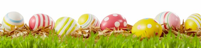 Colorful red and yellow patterned Easter eggs royalty free stock photography