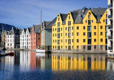 Colorful Reflections of Buildings, Alesund, Norway