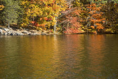 Colorful reflections of fall foliage on West Hartford reservoir. Stock Image