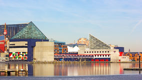 Colorful reflections of National Aquarium buildings in ice on a sunny winter day. Royalty Free Stock Photography