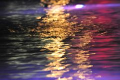 Colorful reflections on water. Closeup of colorful light reflections on water, receding into distance royalty free stock photo