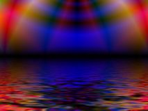 Colorful reflections on water. Colorful blue and red fractal rainbow effect reflecting on sea or water vector illustration