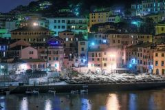 Colorful reflections on the water in Nervi, Genoa royalty free stock photography