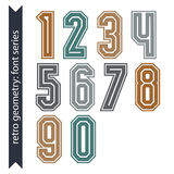 Colorful regular acute-angled digits, bright vector poster numbe Royalty Free Stock Images