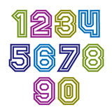 Colorful regular stripy numeration, modern vector poster numbers Royalty Free Stock Photos