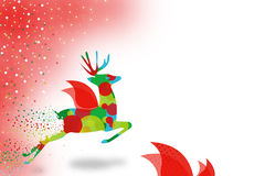 colorful reindeer flying abstract left background Stock Photo