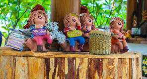 Colorful Relax group mini boy and girl. Statuary Stock Photo