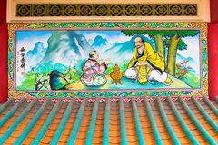 Colorful Religious Painting at Li Thi Miew Shrine Stock Photos