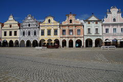 Colorful renaissance houses in Telc square - Front view stock image