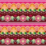 Pakistani or Indian truck art vector seamless pattern, Indian truck floral design with flowers, leaves and abstract shapes vector illustration