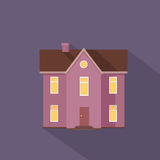Colorful Residential Cottage in Violet Colors. Stock Photo